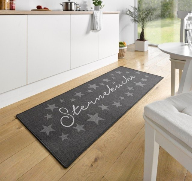 Černá kuchyňská kusová moderní předložka Loop, 01 - délka 180 cm a šířka 67 cm