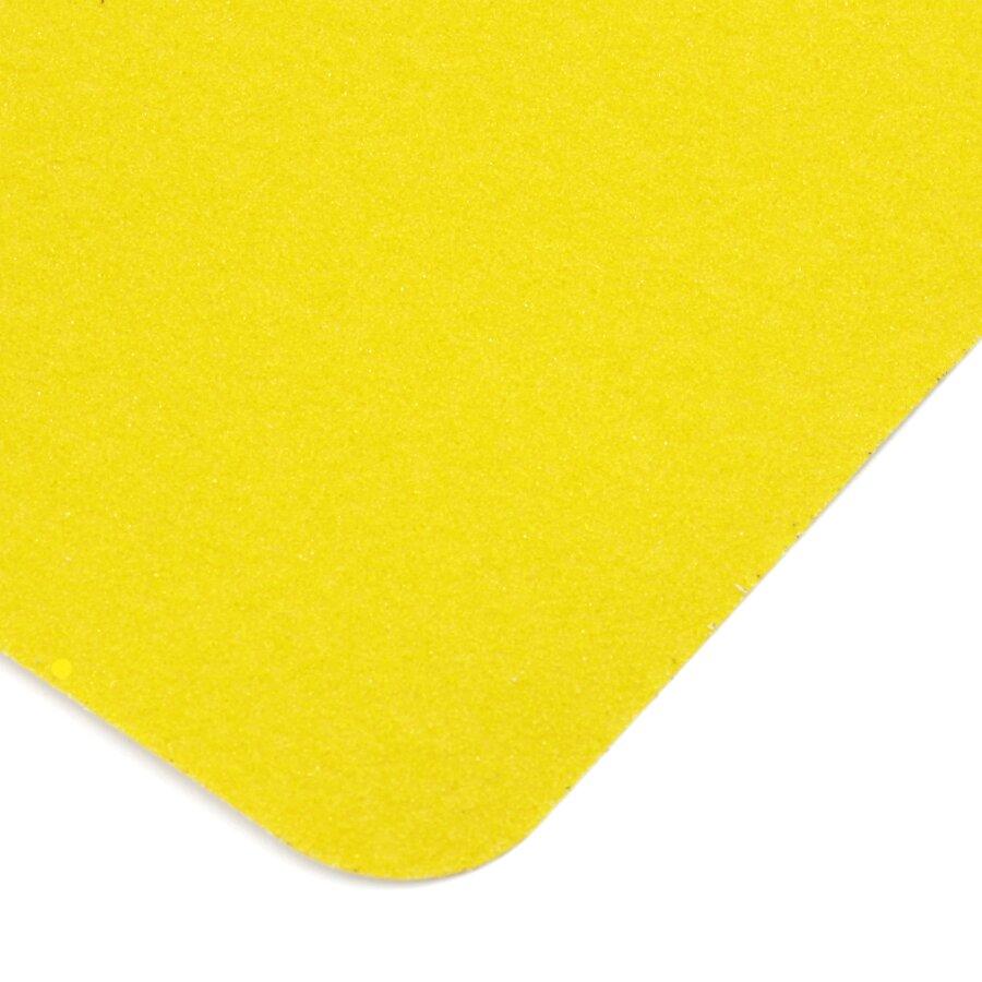Žlutá korundová protiskluzová páska (dlaždice) FLOMA Standard - délka 14 cm, šířka 14 cm a tloušťka 0,7 mm