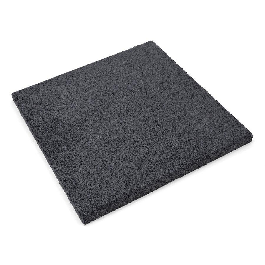 Černá gumová hladká dlažba (V20/R00) FLOMA S800 - délka 50 cm, šířka 50 cm a výška 2 cm