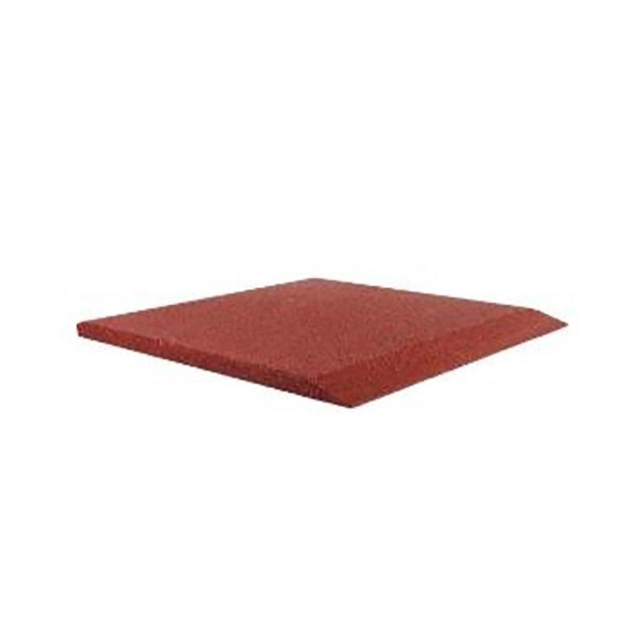 Červená gumová krajová dopadová dlaždice (V30/R00) FLOMA - délka 50 cm, šířka 50 cm a výška 3 cm