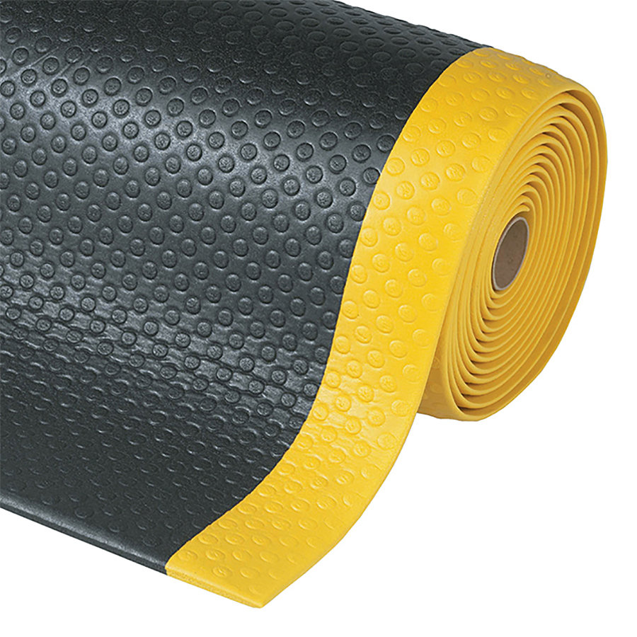 Černo-žlutá metrážová protiúnavová průmyslová rohož Bubble, Sof-Tred - délka 1 cm a výška 1,27 cm