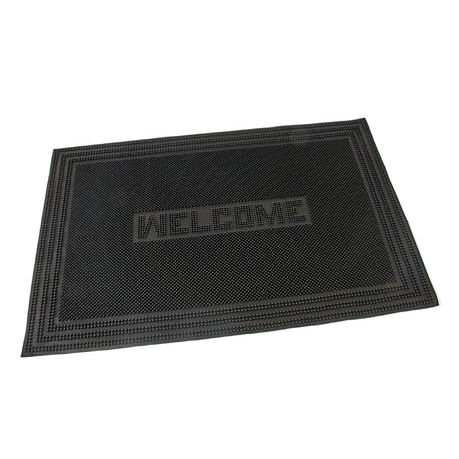 Gumová čistící venkovní vstupní rohož Welcome - Rectangle, FLOMAT - délka 40 cm, šířka 60 cm a výška 0,7 cm