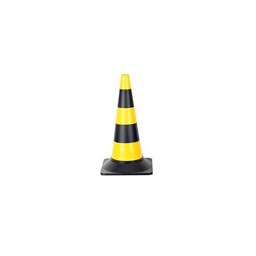 Černo-žlutý plastový (PE) dopravní kužel - šířka 29 cm a výška 30 cm