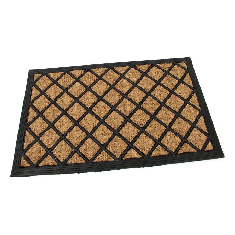 Kokosová čistící venkovní vstupní rohož Rectangle - Rhombus, FLOMAT - délka 40 cm, šířka 60 cm a výška 0,8 cm