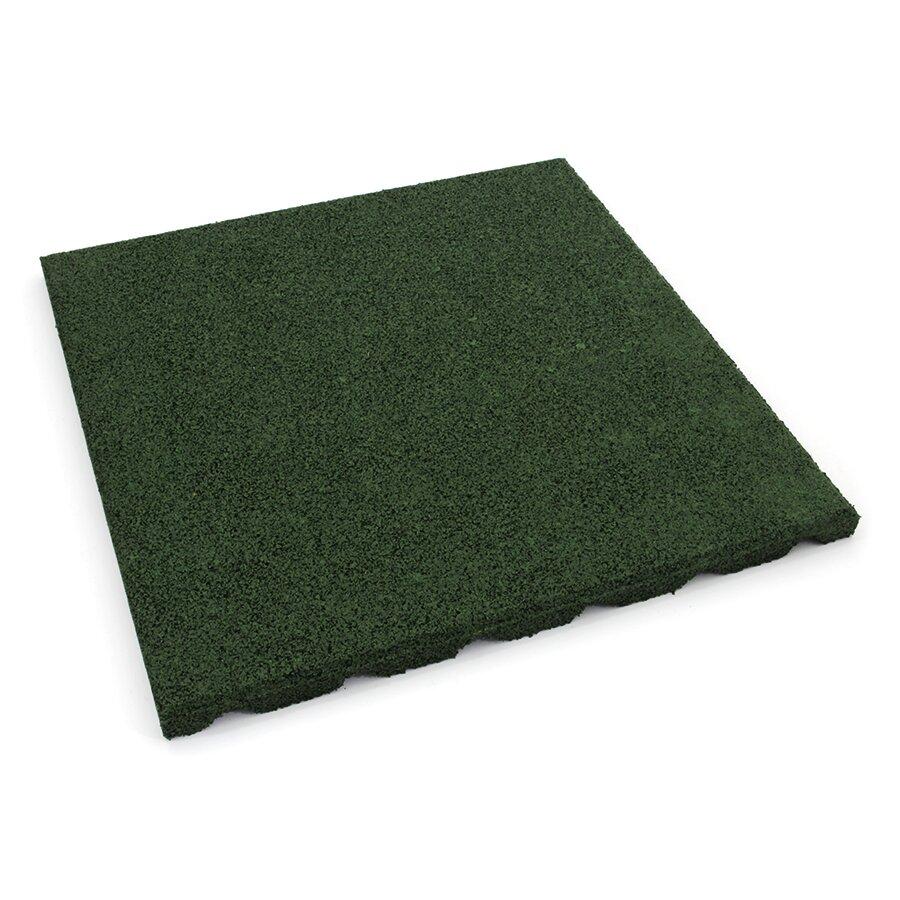 Zelená gumová dlažba (V30/R15) FLOMA S800 - délka 50 cm, šířka 50 cm a výška 3 cm