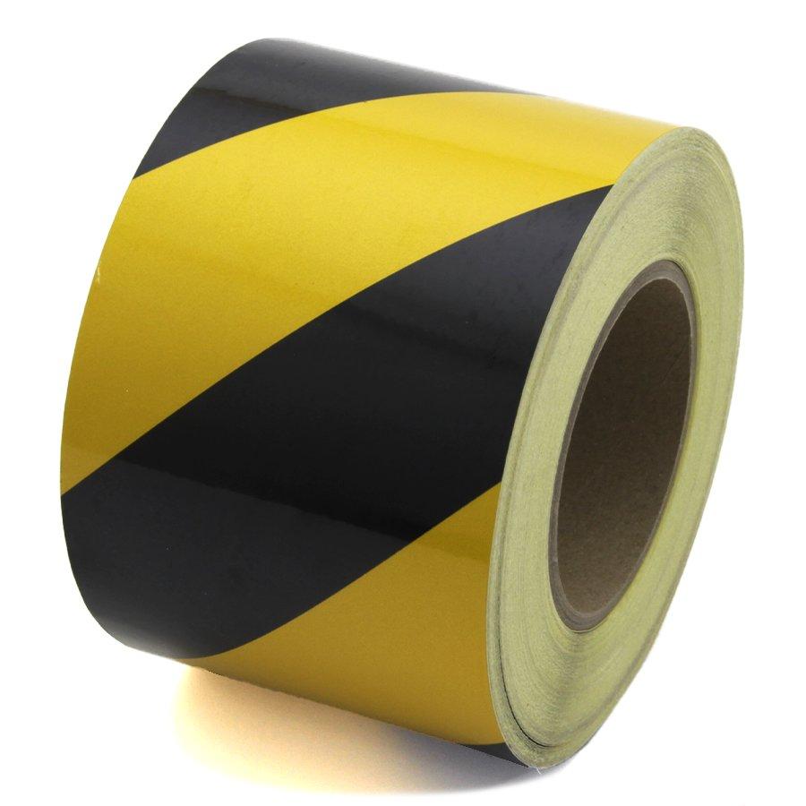 Černo-žlutá levá reflexní výstražná páska - délka 45 m a šířka 10 cm