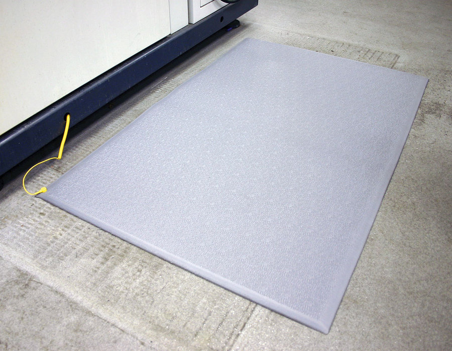 Šedá průmyslová protiúnavová ESD antistatická rohož - délka 18,3 m, šířka 90 cm a výška 0,9 cm