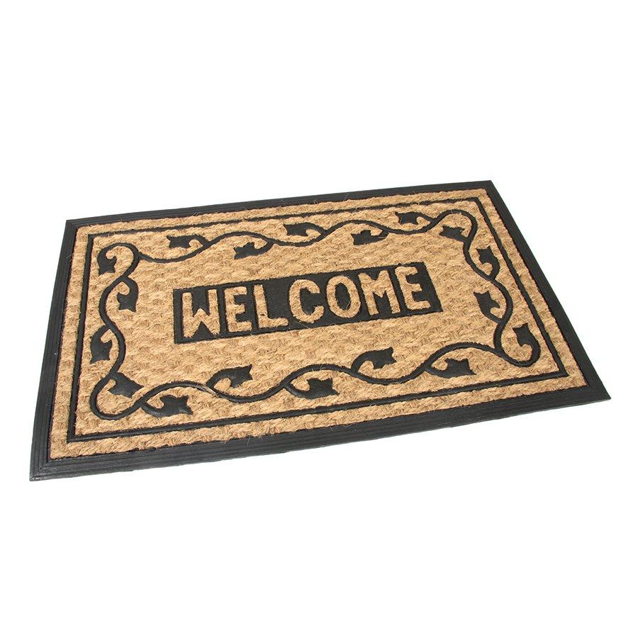 Kokosová čistící venkovní vstupní rohož Welcome - Deco, FLOMAT - délka 45 cm, šířka 75 cm a výška 0,8 cm