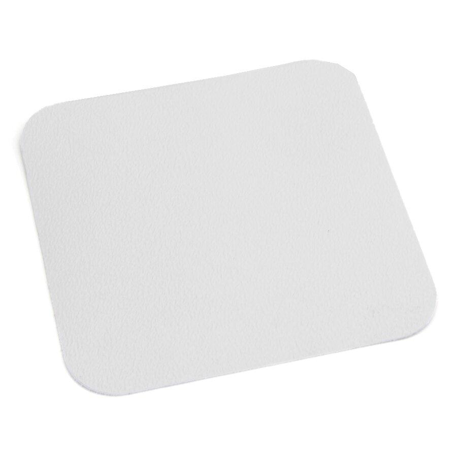 Bílá plastová protiskluzová voděodolná podlahová páska - délka 14 cm, šířka 14 cm a tloušťka 0,7 mm