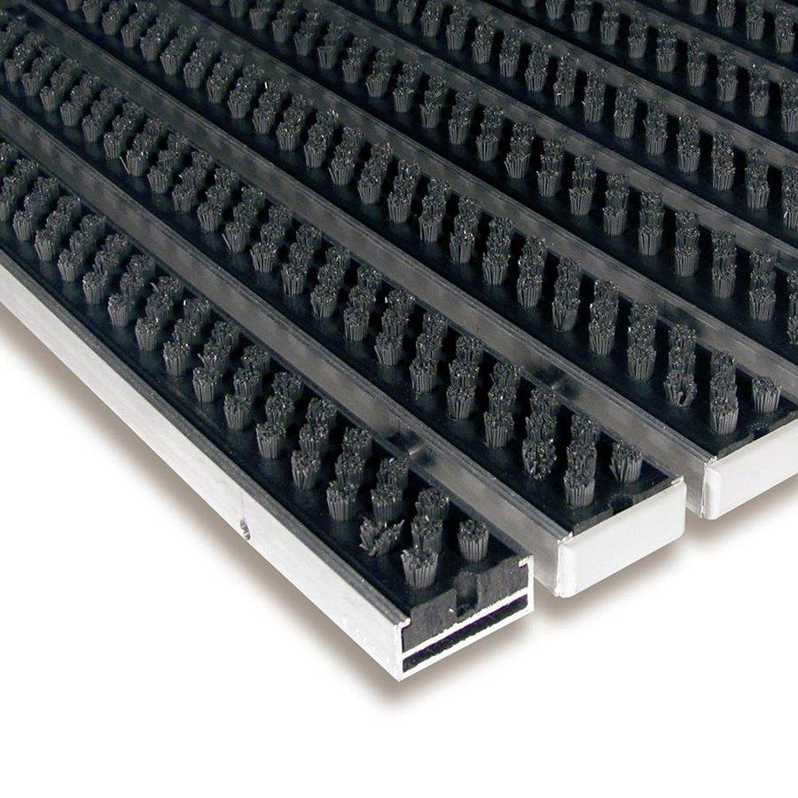 Šedá hliníková kartáčová venkovní vstupní rohož Alu Super, FLOMA - výška 1,7 cm