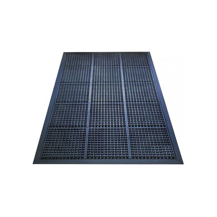 Černá gumová protiúnavová průmyslová rohož - délka 150 cm, šířka 90 cm a výška 1,8 cm