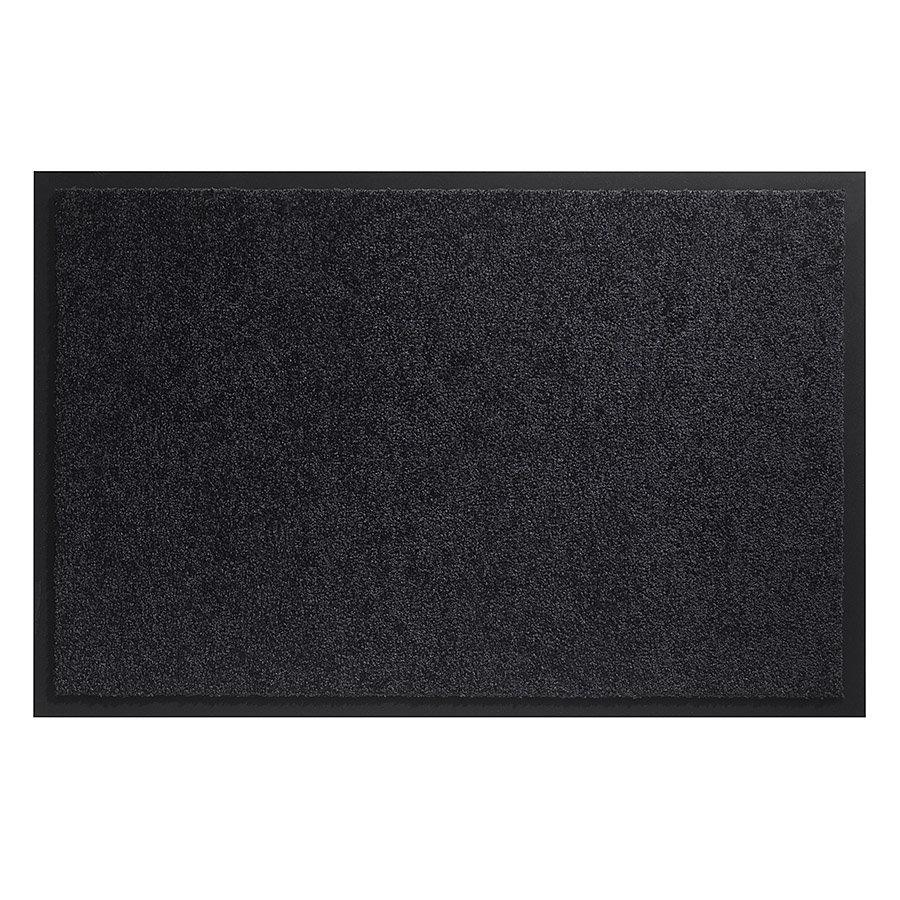 Černá vnitřní vstupní čistící pratelná metrážová rohož (lem - 2 strany) Twister, FLOMA - délka 1 cm, šířka 100 cm a výška 0,8 cm