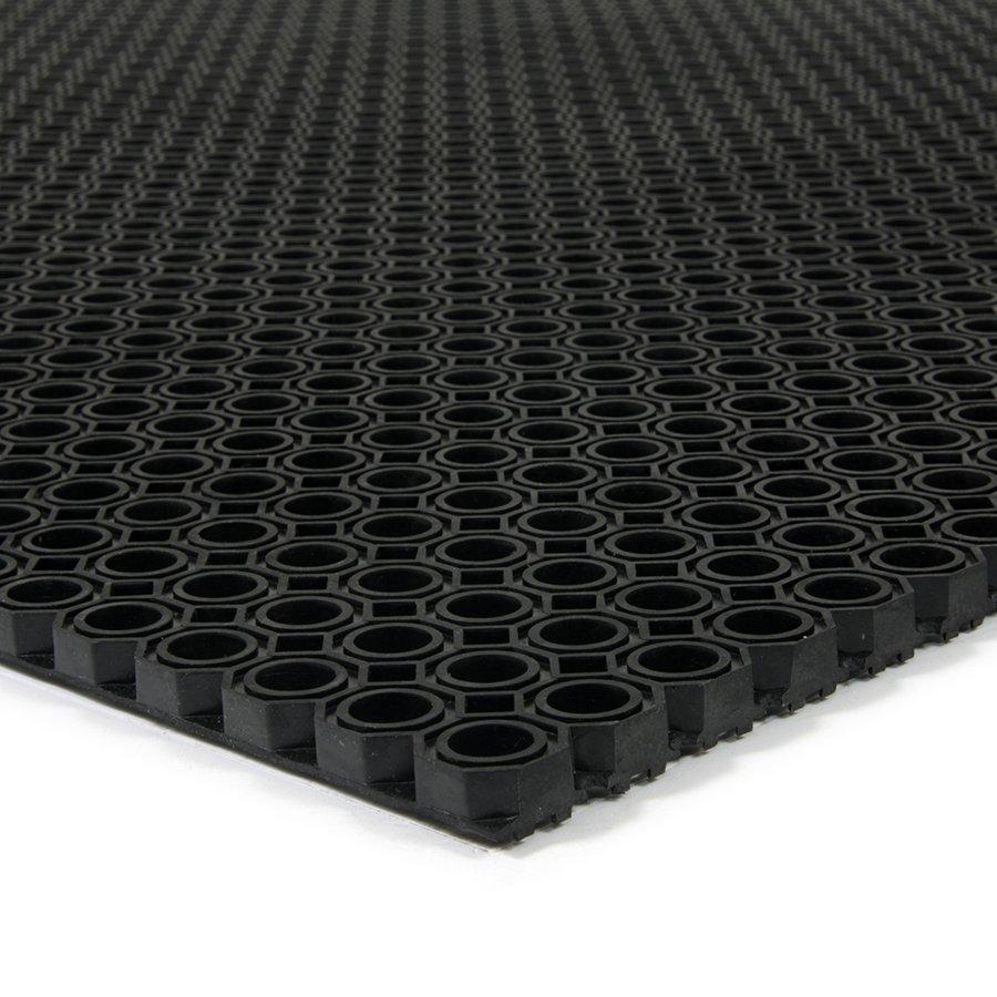 Černá gumová vstupní venkovní čistící rohož Octomat Mini, FLOMA - délka 50 cm, šířka 100 cm a výška 1,25 cm
