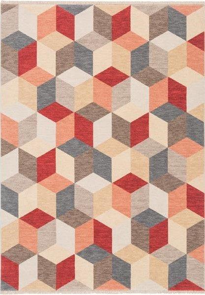 Červený moderní kusový koberec Cube - délka 195 cm a šířka 145 cm