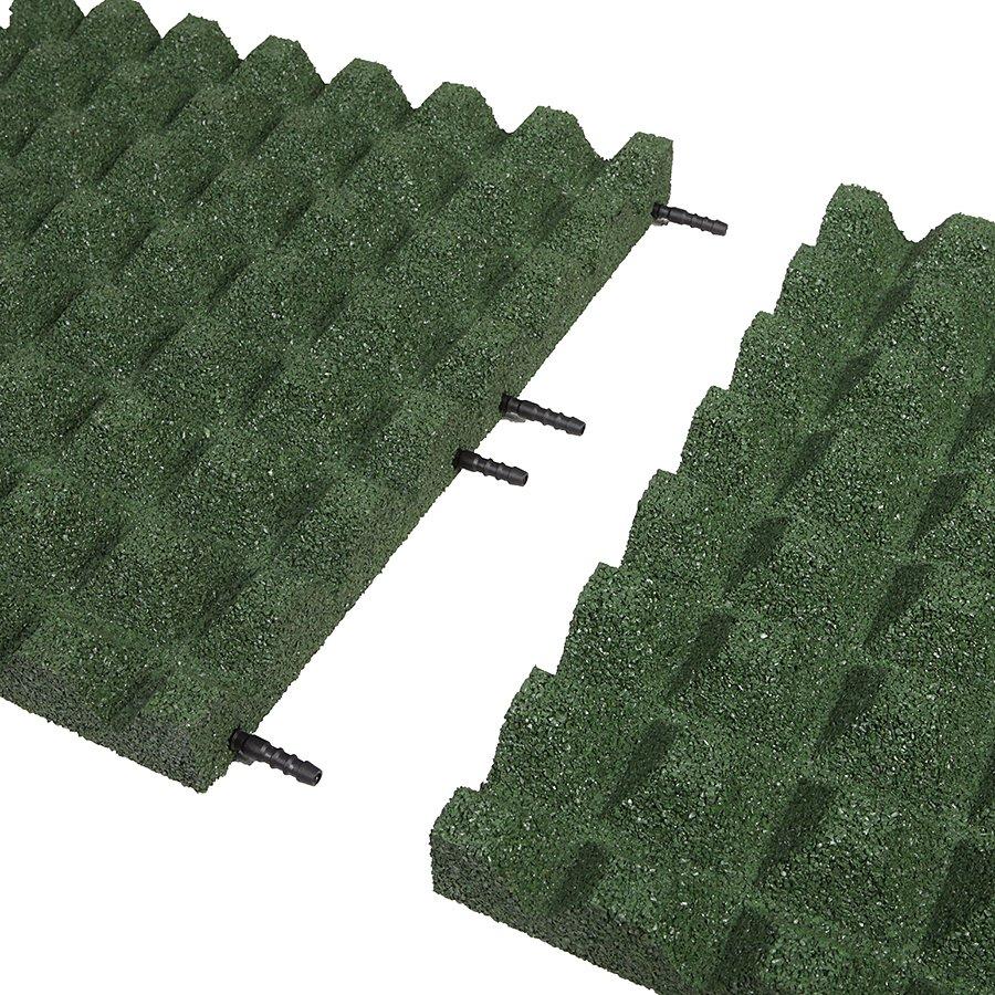 Zelená gumová dopadová dlaždice (V50/R28) FLOMA - délka 50 cm, šířka 50 cm a výška 5 cm