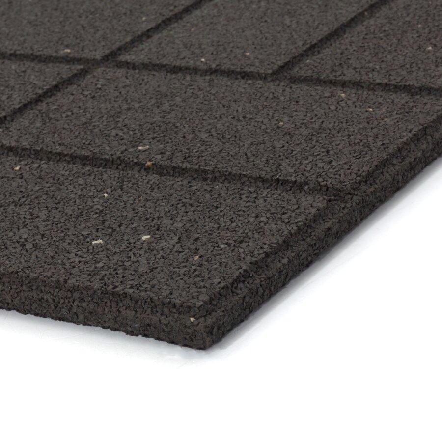 Hnědá gumová terasová dlažba FLOMA Cobblestone - délka 40 cm, šířka 40 cm a výška 1,5 cm