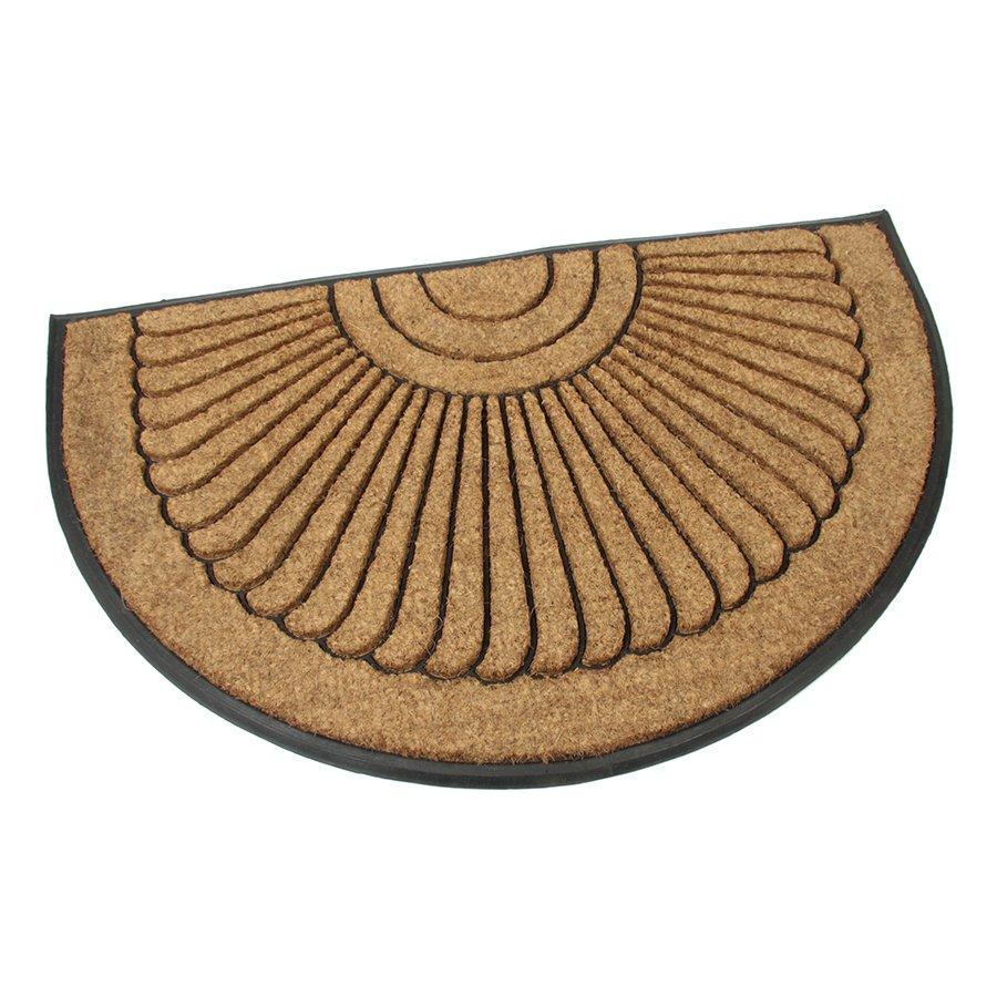 Kokosová čistící venkovní vstupní půlkruhová rohož Flower, FLOMAT - délka 75 cm, šířka 120 cm a výška 2,2 cm