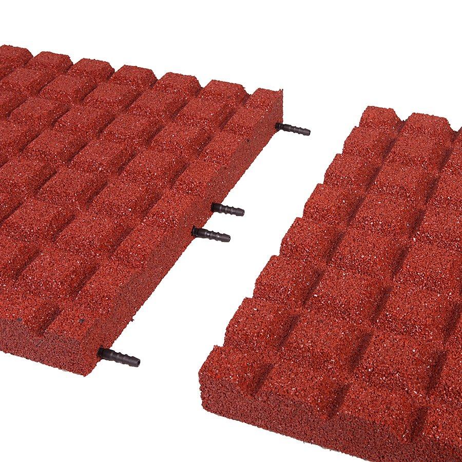 Červená gumová dopadová dlaždice (V55/R15) FLOMA - délka 50 cm, šířka 50 cm a výška 5,5 cm