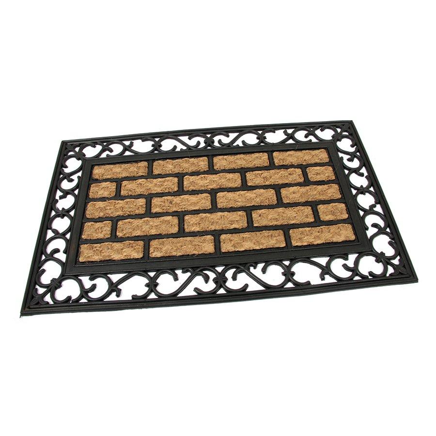 Kokosová čistící venkovní vstupní rohož Bricks - Deco, FLOMA - délka 45 cm, šířka 75 cm a výška 0,9 cm