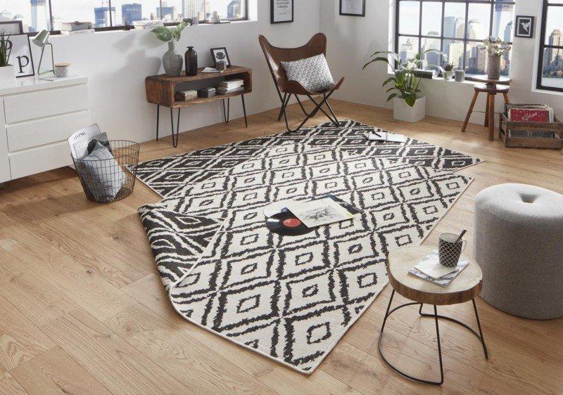 Béžovo-černý kusový koberec Twin-Wendeteppiche