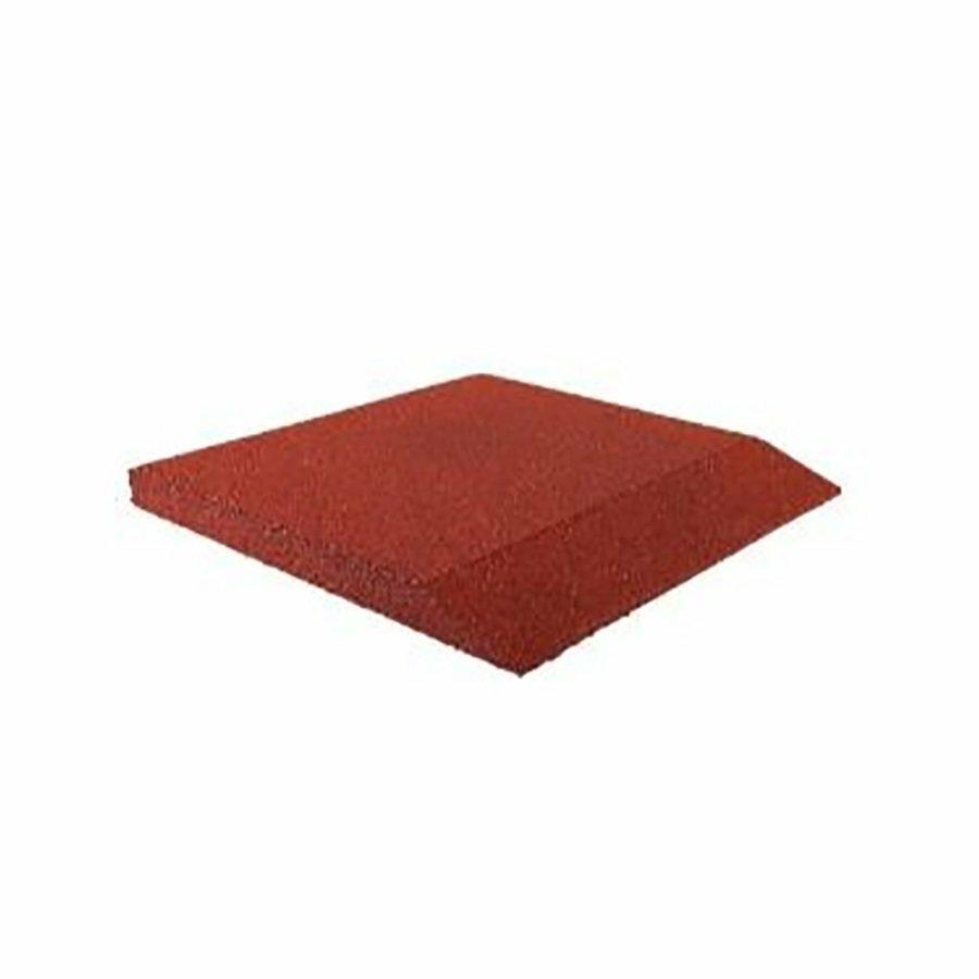Červená gumová krajová hladká dlažba (V90/R00) FLOMA - délka 50 cm, šířka 50 cm a výška 9 cm