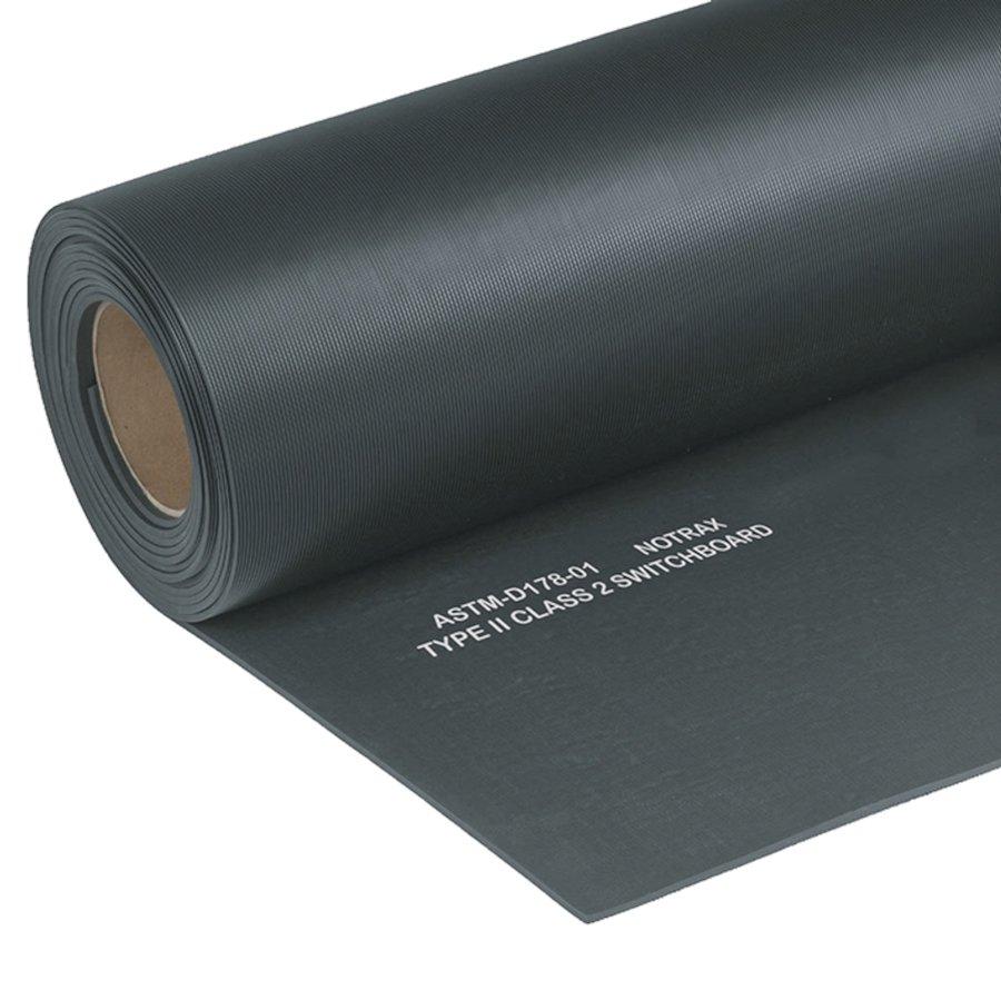 Černá elektroizolační průmyslová metrážová rohož Switchboard, Class 2 - délka 1 cm, šířka 91 cm a výška 0,64 cm