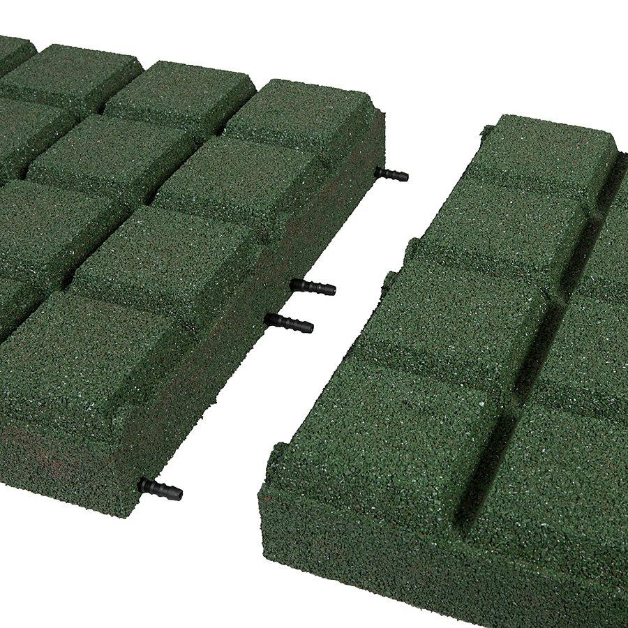 Zelená gumová dopadová dlaždice (V90/R25BIG) FLOMA - délka 50 cm, šířka 50 cm a výška 9 cm