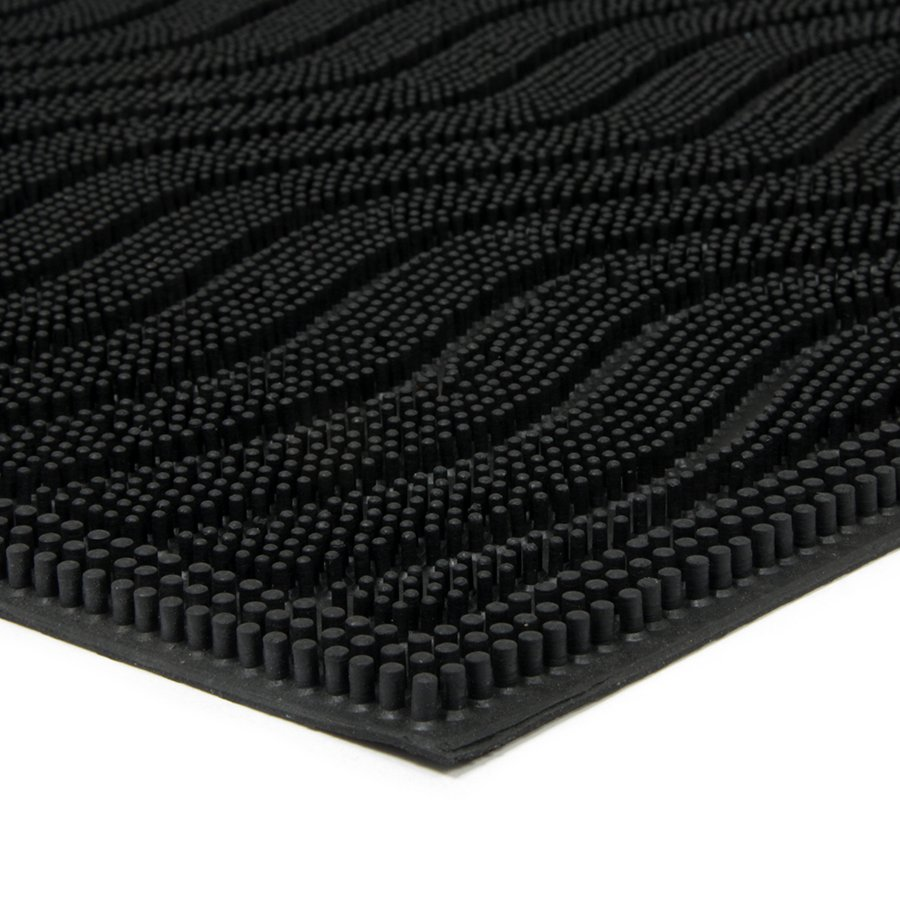 Gumová čistící venkovní vstupní rohož Waves, FLOMA - délka 40 cm, šířka 60 cm a výška 0,9 cm