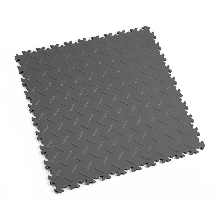 Grafitová vinylová plastová zátěžová dlaždice Industry 2010 (diamant), Fortelock - délka 51 cm, šířka 51 cm a výška 0,7 cm