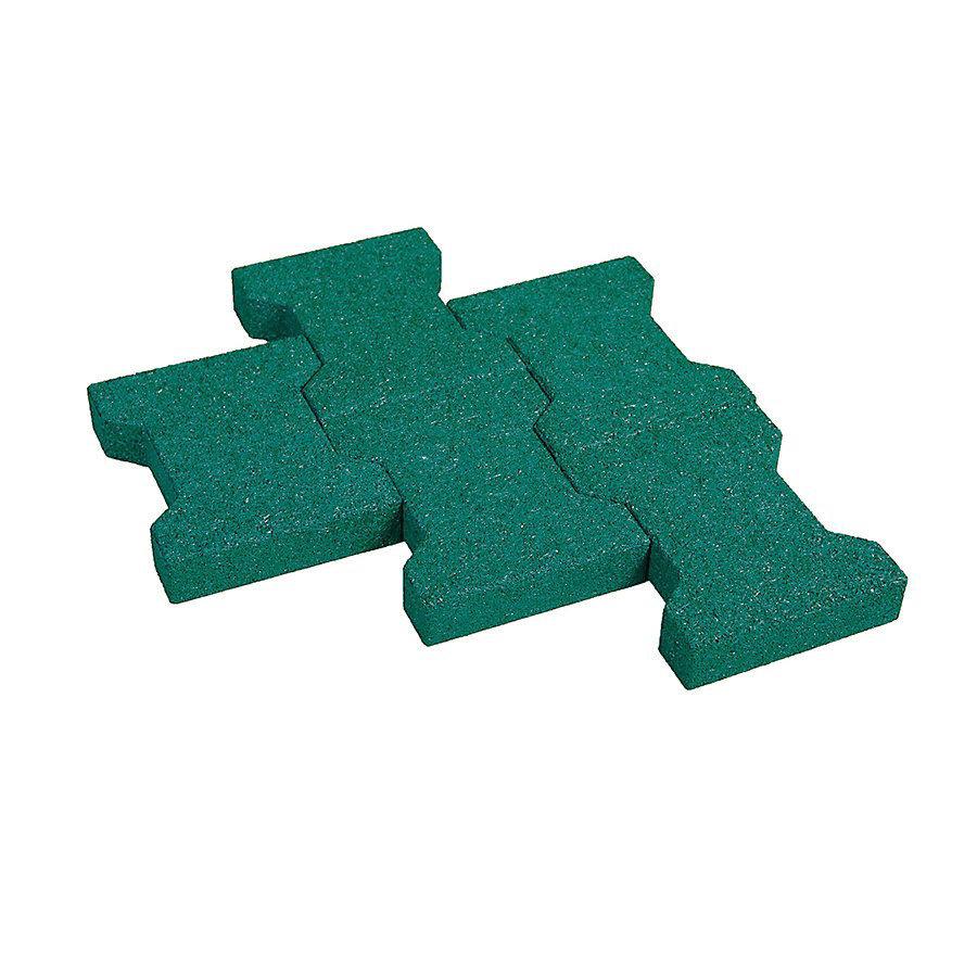 Zelená gumová zámková dlažba KA1 - délka 20 cm, šířka 16,5 cm a výška 4,3 cm
