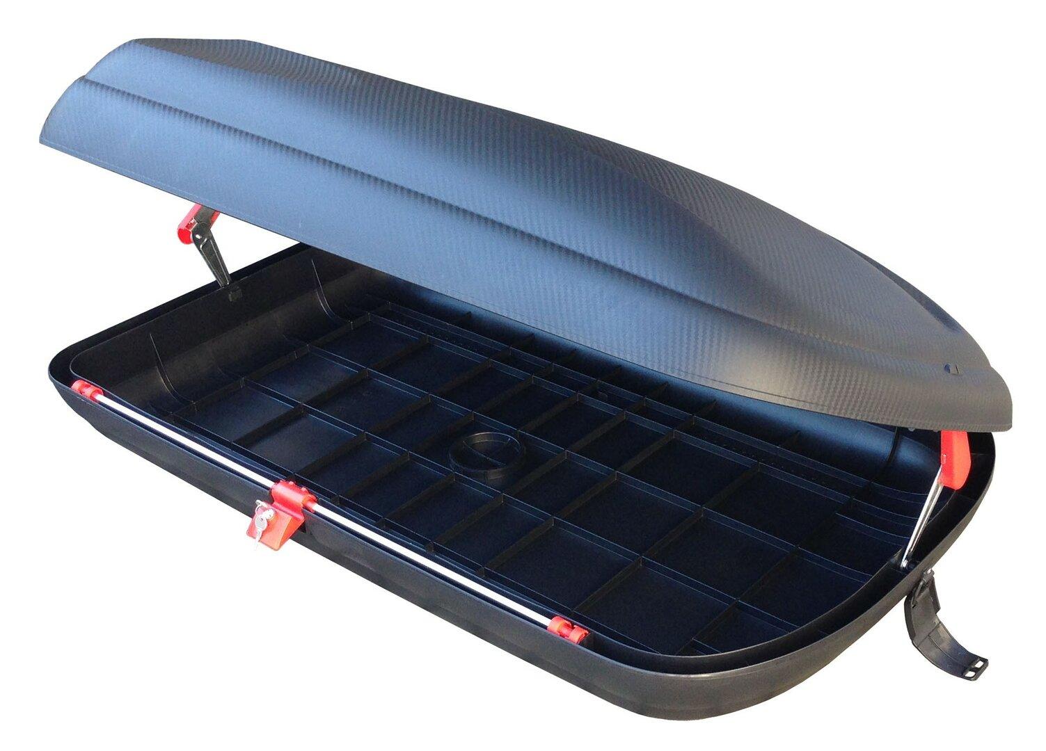 Černý střešní box Linea Carbon - objem 320 l, délka 132 cm, šířka 77,8 cm a výška 34,5 cm