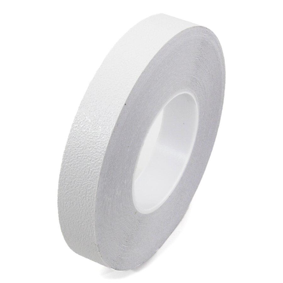 Bílá plastová voděodolná protiskluzová páska FLOMA Aqua-Safe - délka 18,3 m, šířka 2,5 cm a tloušťka 0,7 mm