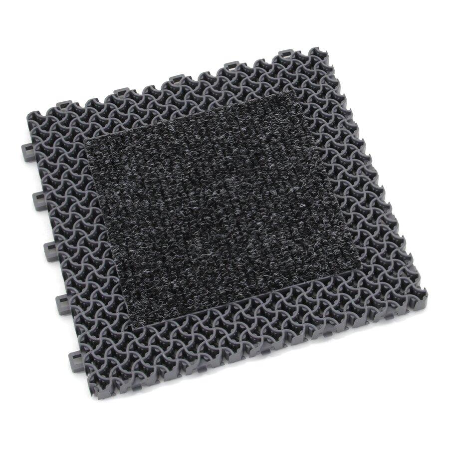 Šedá plastová textilní zátěžová vstupní rohož Modular 9900 - Aqua 75 - délka 30 cm, šířka 30 cm a výška 2,19 cm