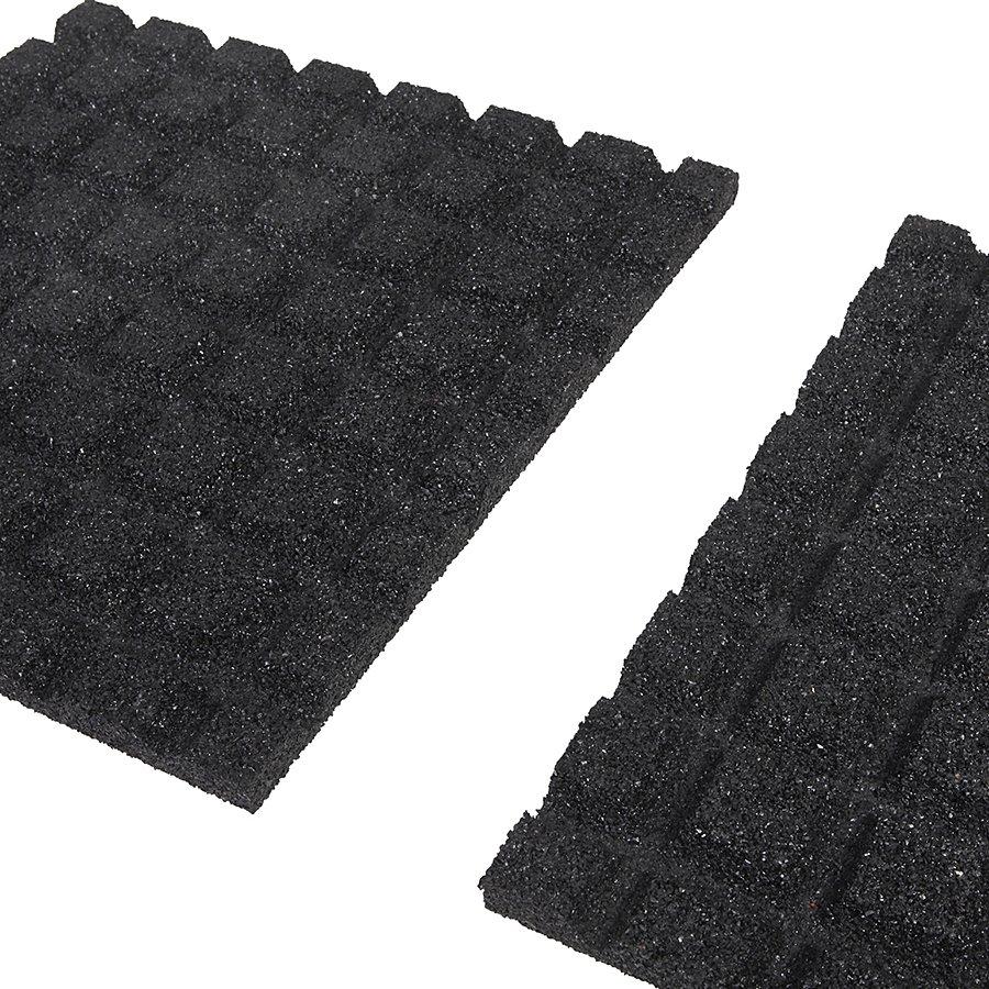 Černá gumová dopadová dlaždice (V25/R15) - délka 50 cm, šířka 50 cm a výška 2,5 cm