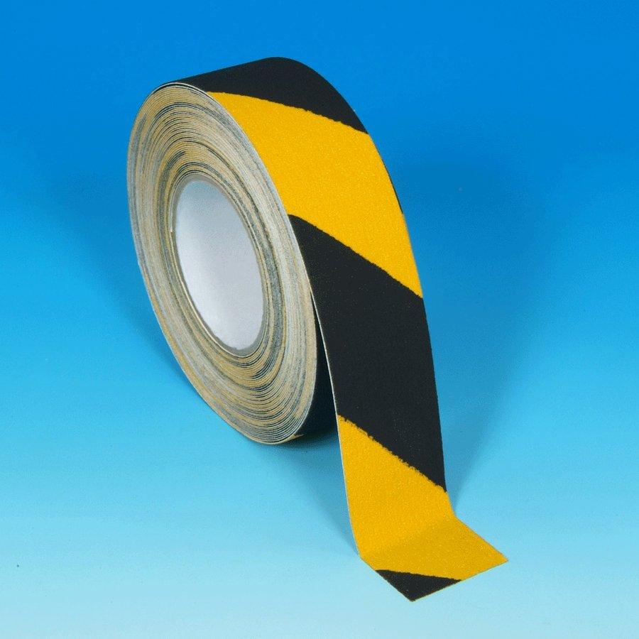 Černo-žlutá korundová protiskluzová samolepící podlahová páska pro nerovné povrchy - délka 18 m a šířka 5 cm
