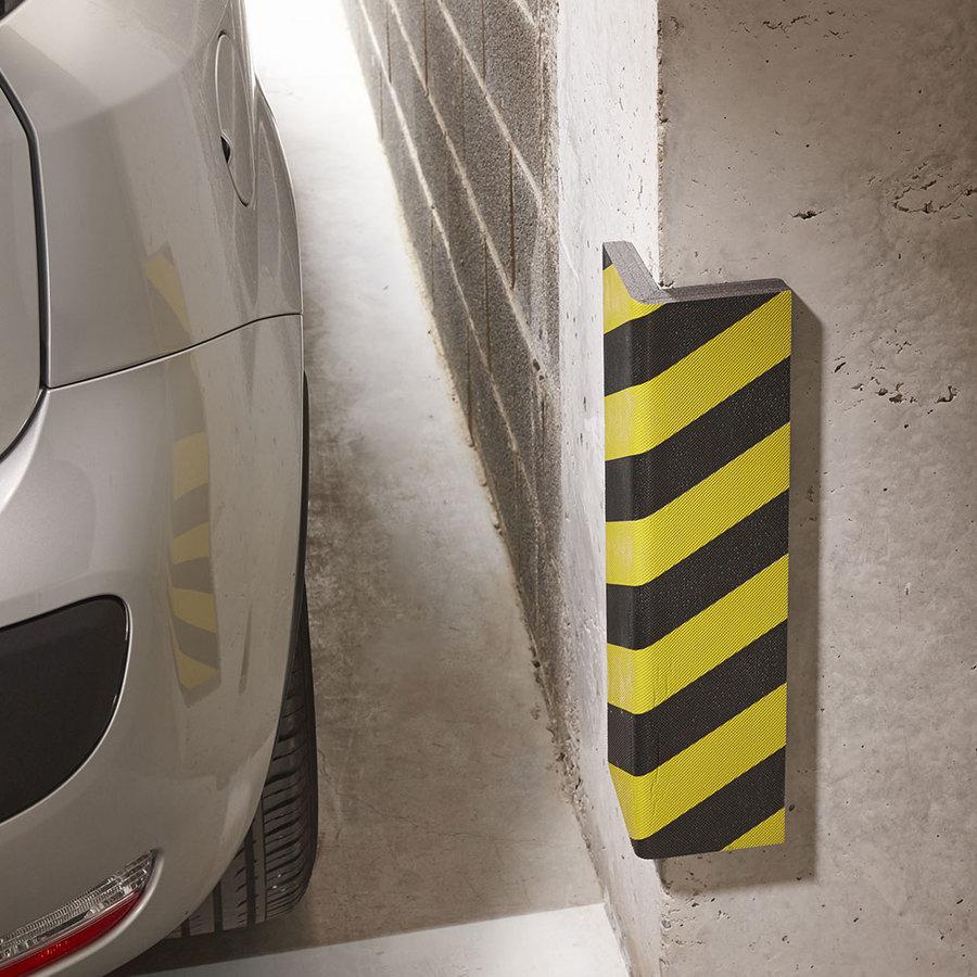 Černo-žlutý pěnový ochranný pás (roh) - délka 80 cm, šířka 12,5 cm a tloušťka 2,5 cm