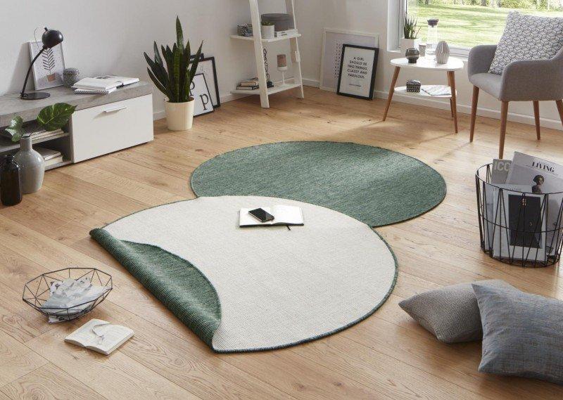 Béžový oboustranný kusový bytový kulatý koberec Twin-Wendeteppiche - průměr 200 cm