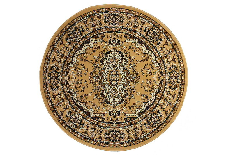 Béžový kusový orientální kulatý koberec Teheran-T - průměr 150 cm