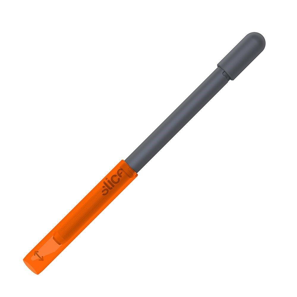 Oranžovo-šedý kovový přesný modelářský nůž SLICE - délka 16,5 cm, šířka 1,2 cm a výška 1,2 cm