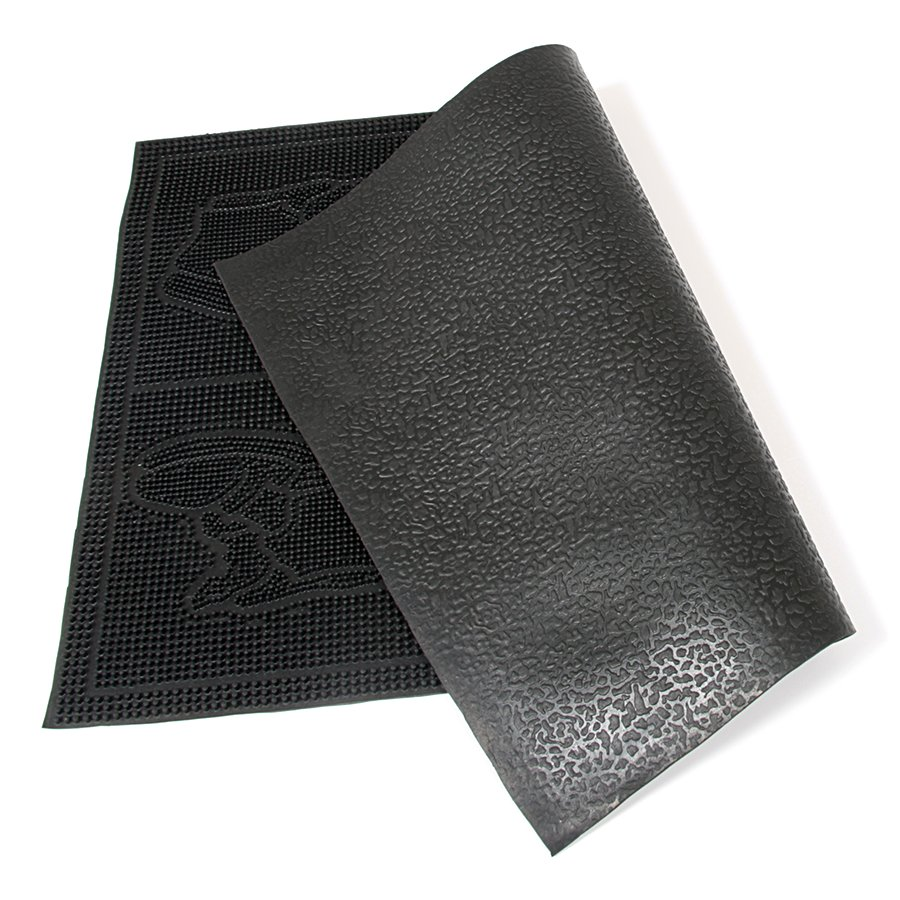 Gumová čistící venkovní vstupní rohož FLOMA Shoes - Squares - délka 40 cm, šířka 60 cm a výška 0,7 cm