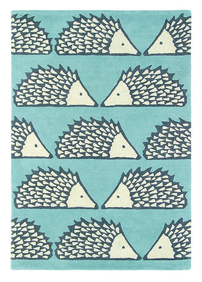 Světle modrý kusový moderní koberec Spike