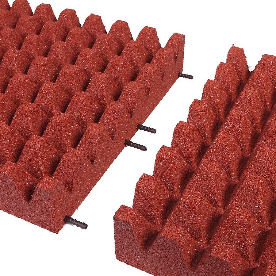 Červená gumová dopadová dlaždice (V100/R50) FLOMA - délka 50 cm, šířka 50 cm a výška 10 cm