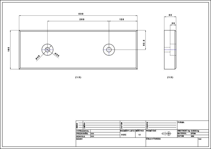 Pryžový obdélníkový doraz - délka 50 cm, šířka 16,5 cm a tloušťka 5 cm