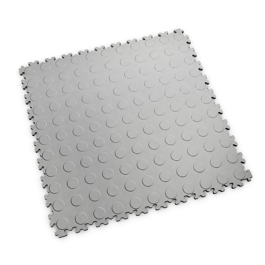 Šedá vinylová plastová zátěžová dlaždice Fortelock Industry 2040 (penízky) - délka 51 cm, šířka 51 cm a výška 0,7 cm