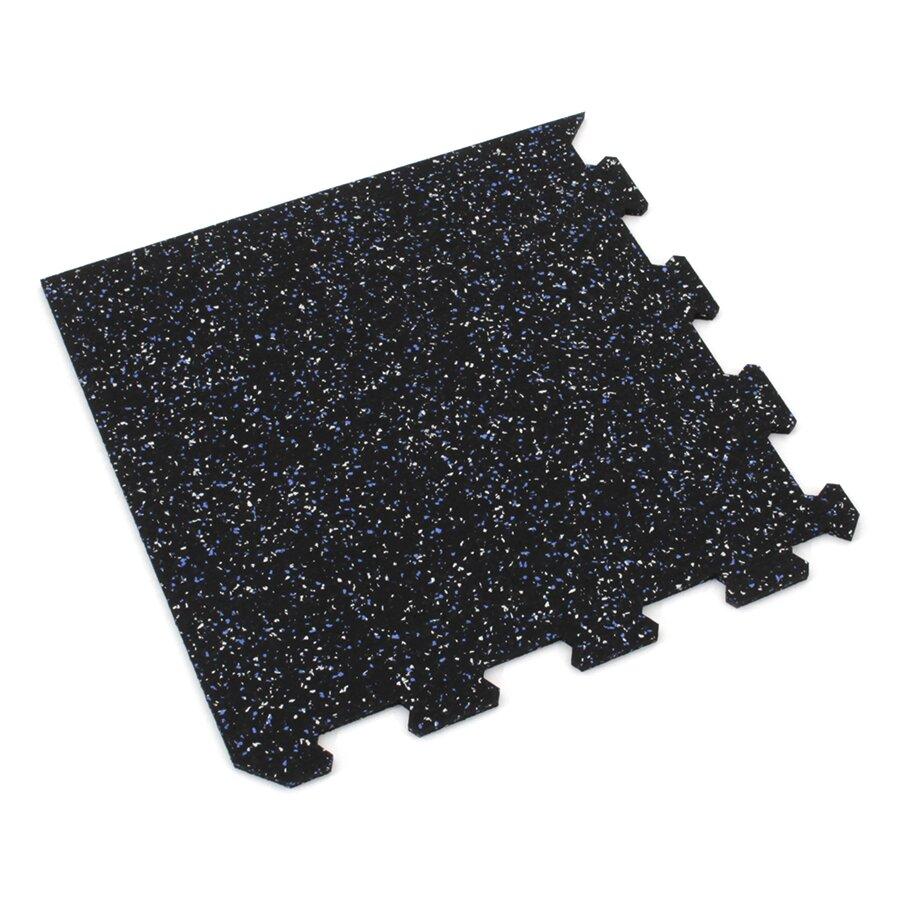 Černo-bílo-modrá gumová modulová puzzle dlažba (roh) FLOMA FitFlo SF1050 - délka 95,6 cm, šířka 95,6 cm a výška 0,8 cm