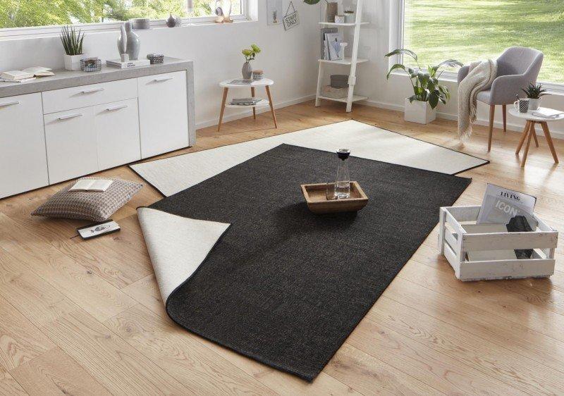 Černý kusový oboustranný koberec Twin-Wendeteppiche - délka 230 cm a šířka 160 cm