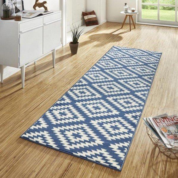 Bílo-modrý kusový moderní koberec Basic - šířka 80 cm