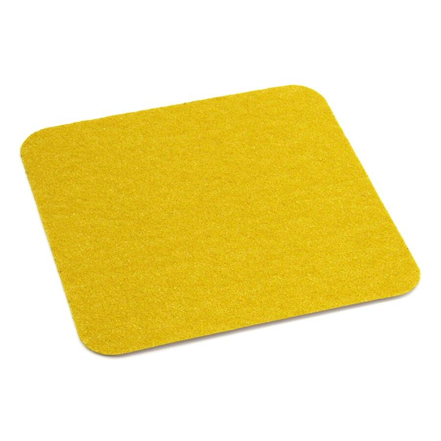 Žlutá korundová protiskluzová podlahová páska Super - délka 14 cm, šířka 14 cm a tloušťka 1 mm