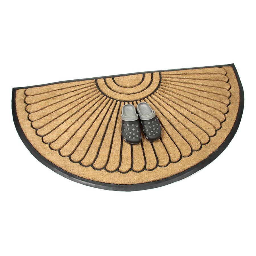 Kokosová čistící venkovní vstupní půlkruhová rohož Flower, FLOMA - délka 90 cm, šířka 180 cm a výška 2,2 cm