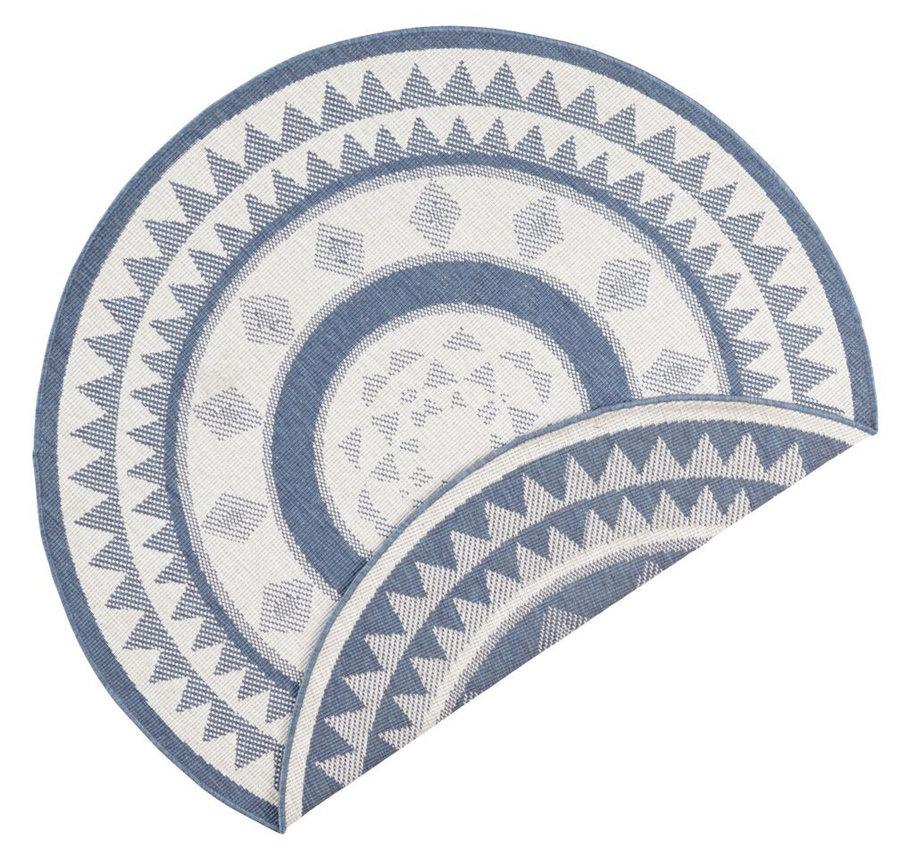 Modrý oboustranný moderní kulatý koberec Jamaica, Twin-Supreme - průměr 200 cm